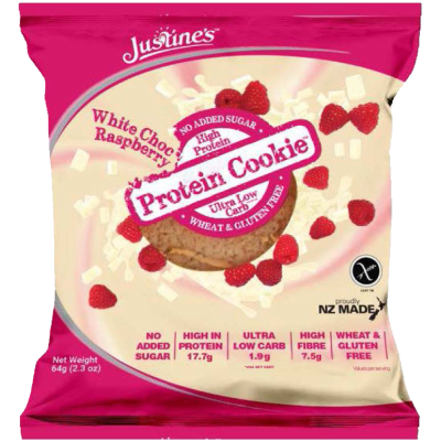 Justines - Protein cookie chocolate blanco y frambuesas